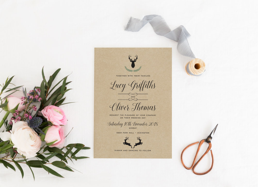 Highgate - Stag imagery is a classical, retro theme used in many contemporary weddings that want to recall something more vintage. Our Highgate design is able to be printed on kraft or hammered cardstock and uses iconic imagery for an on-trend final design.
