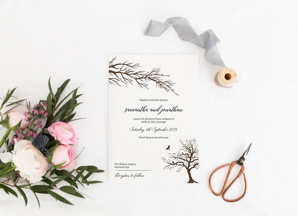 Poplar - Whether it's a wedding in the autumn or a wedding with a rustic or natural style, our Poplar collection is one of our most popular. Available to be printed on kraft or hammered cardstock, Poplar is a striking rustic design suitable for a woodland, autumn or vintage wedding theme.