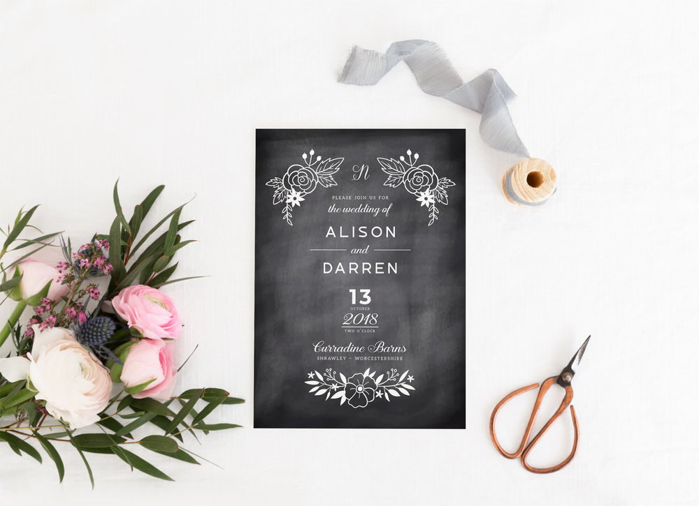 Shoreditch - Our Shoreditch collection is a vintage design, using a subtle chalkboard effect as the backdrop for all items, with white typography and details. Using an unfussy set of typefaces, Shoreditch is a great design for a modern wedding with a vintage twist.