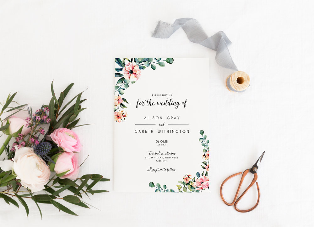 Hampstead - A new design for 2018, our Hampstead collection uses beautiful watercolour eucalyptus foliage and floral details - accompanied with a beautiful collection of typography.