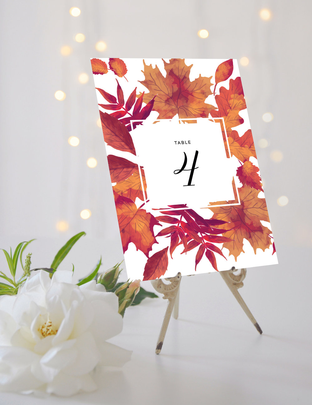 Table Name / Number - Our table cards are printed in a large A5 format and double-sided, so guests always know where they need to take their seat. You can opt for either standard numbering or creating naming; it's entirely up to you.