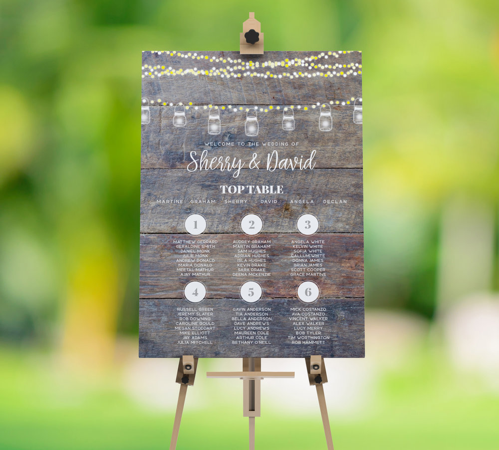 Table Plan - Our table plans are available in either A2 or A1 sizes, able to cater to both intimate and larger weddings. Printed on heavy duty cardstock with an additional 2mm backing, these table plans are perfect for popping on to an easel at your venue.