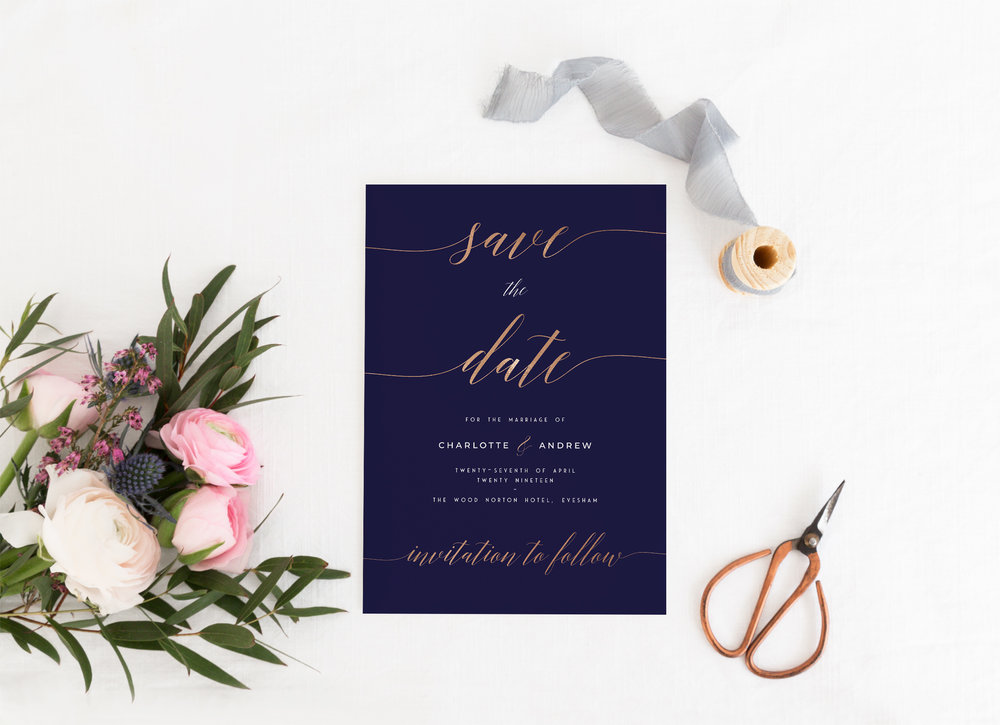 Save The Date - Our Save The Date cards are single-sided, A in size and printed on either hammered cardstock or smooth cardstock that's magnetised on the reverse - perfect for guests to pop onto the fridge!