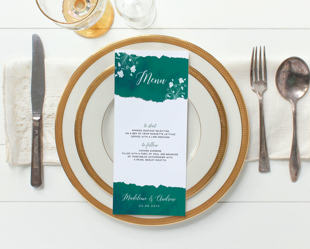 Menu Card - Our DL-sized menu cards are provided double-sided - if you have a larger number of courses both sides will be used, for a shorter wedding breakfast the reverse will be used decoratively, with the details of the happy couple and wedding date.