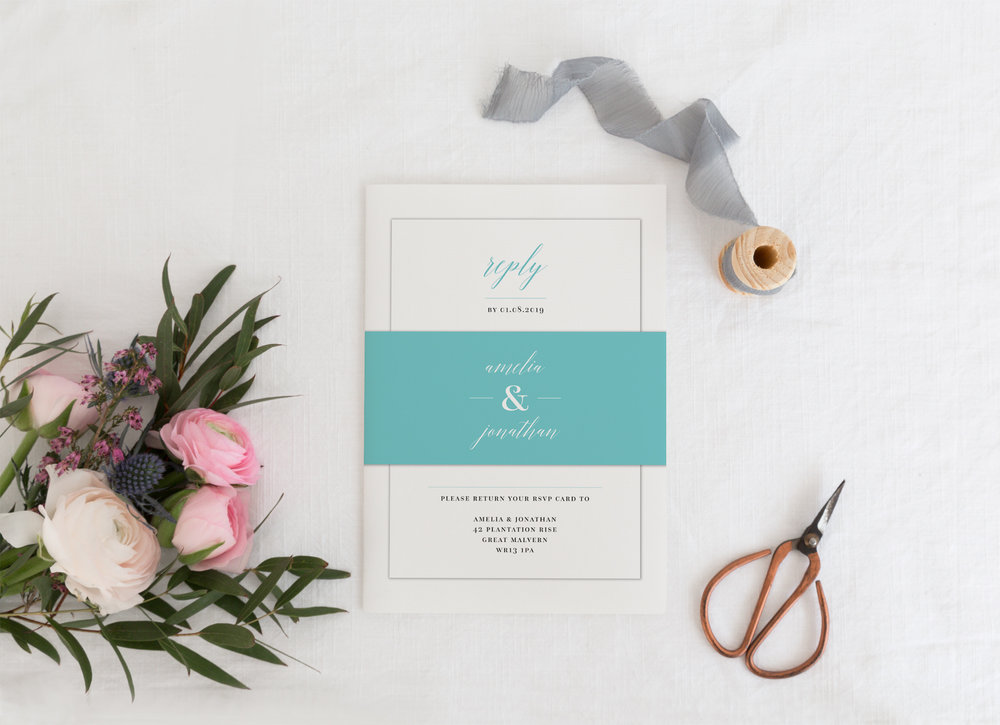 Invitation Collections - Our invitations are available in four options; the invitation card on its own (perfect for evening guests), with an additional RSVP card, bound with a decorative paper belly band, or with an additional information card - perfect for all weddings, big and small.
