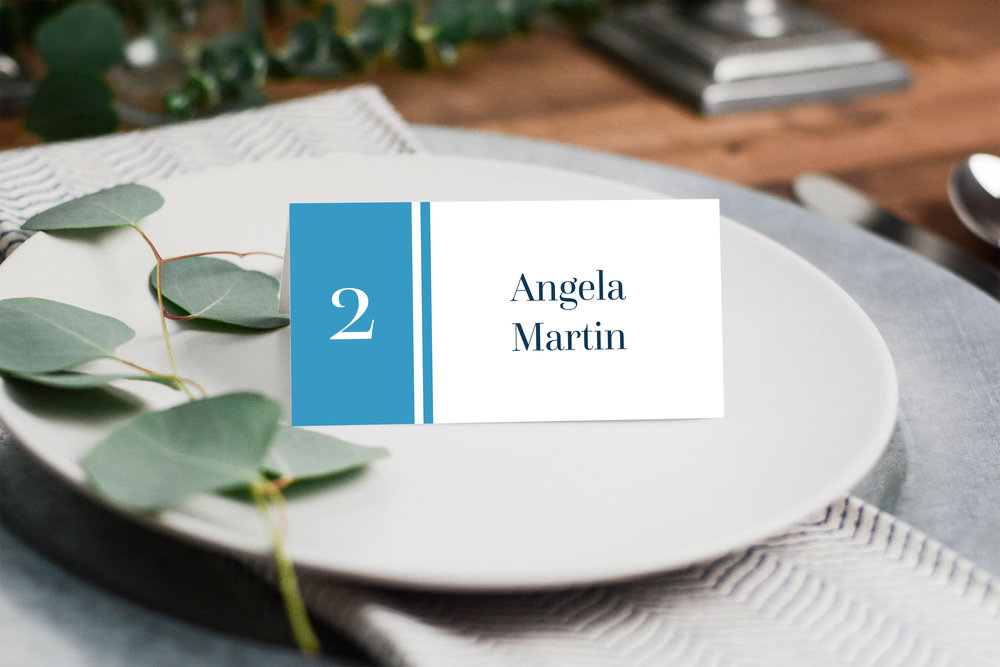 Place Cards - Our stylish place cards are 90mm x 90mm - folding to 45mm x 90mm; with guest details fully personalised on the front and details of the wedding couple on the reverse.