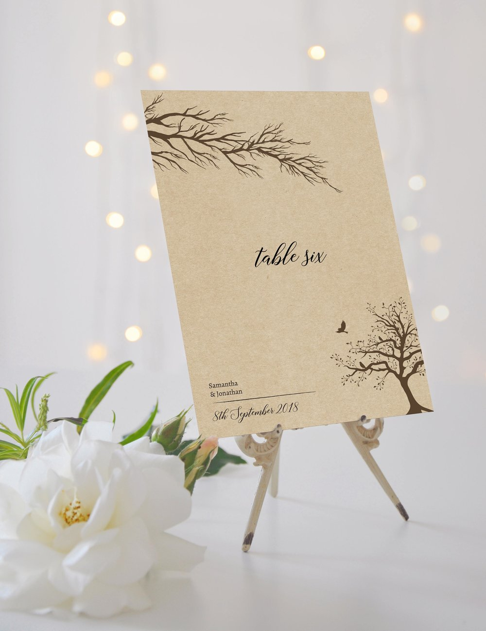 Table Names / Numbers - Our table cards are printed in a large A5 format and double-sided, so guests always know where they need to take their seat. You can opt for either standard numbering or creative naming; it's entirely up to you.