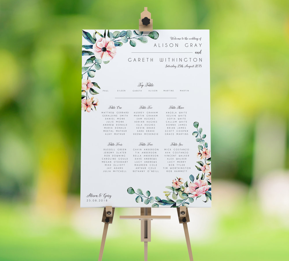 Table Plans - Our table plans are available in either A2 or A1 sizes, able to cater to both intimate and larger weddings. Printed on heavy duty cardstock with an additional 2mm backing, these table plans are perfect for popping on to an easel at your venue.