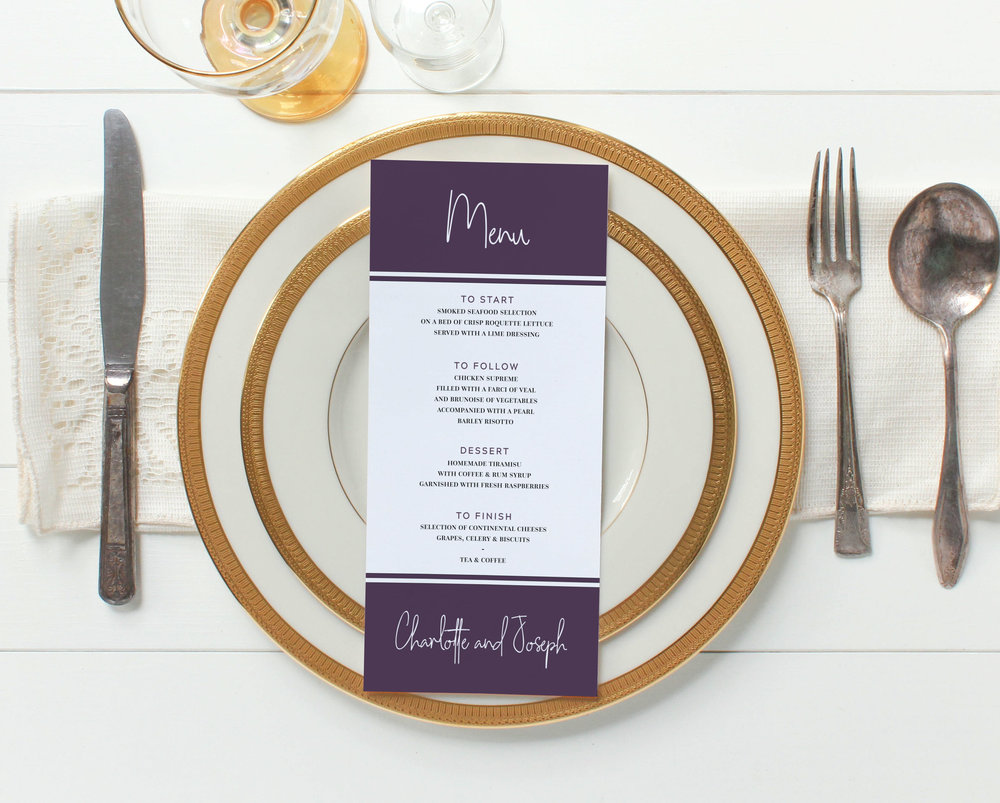Menu Cards - Our DL-sized menu cards are provided double-sided - if you have a larger number of courses both sides will be used, for a shorter wedding breakfast the reverse will be used decoratively, with the details of the happy couple and wedding date.