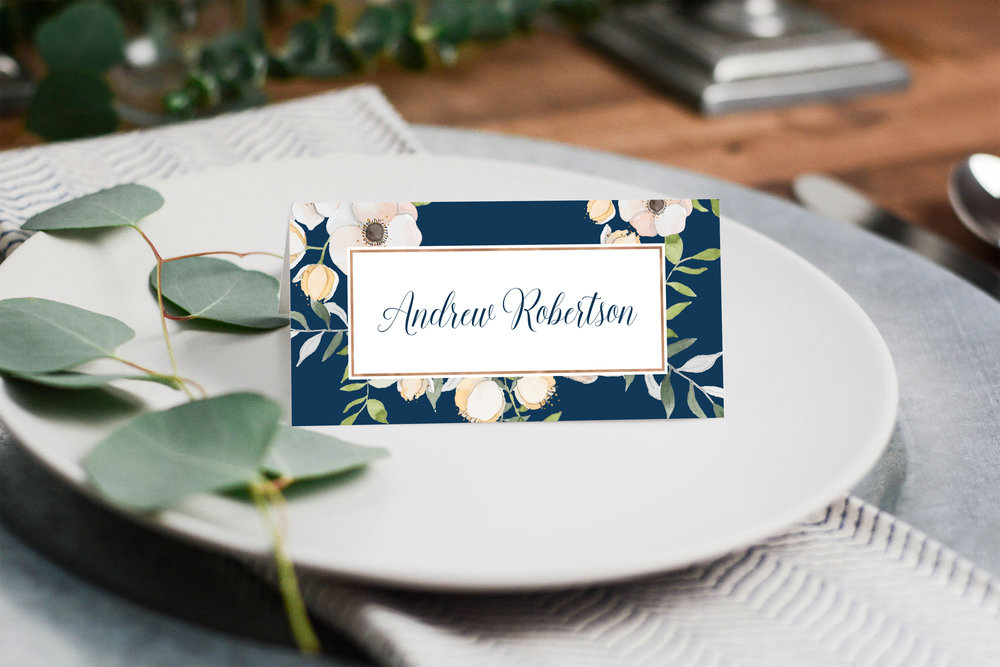 Place Card - Our stylish place cards are 90mm x 90mm - folding to 45mm x 90mm; with guest details fully personalised on the front and details of the wedding couple on the reverse.