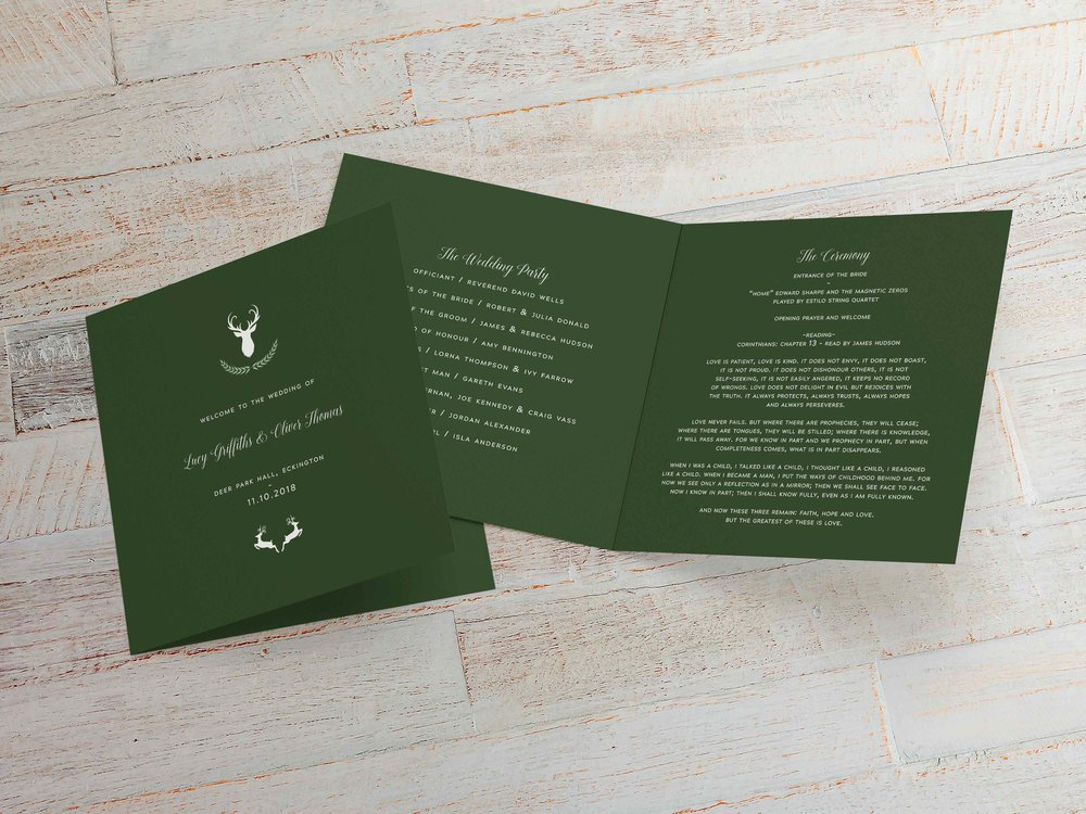 Order of Service - Offered in either four sides for a less formal wedding, or a bound eight-sided option for a more formal, religious ceremony, our Order of Service booklets match all other stationery items to continue your theme throughout the wedding.