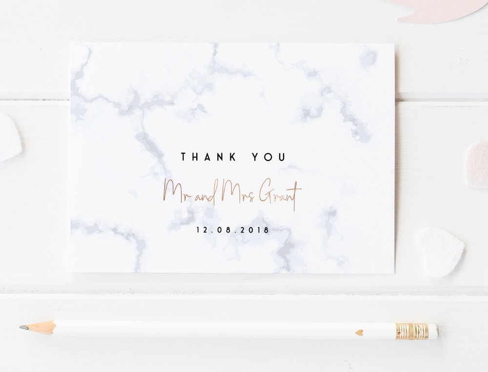 Thank You Card - Offered in an A6 size, our printed Thank You Cards are available either single-sided for writing your own note on the reverse, or double-sided for printing a passage of your choosing.