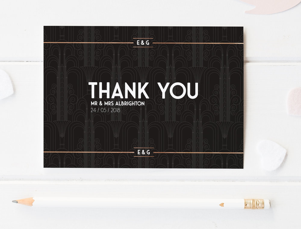 Thank You Cards - Offered in an A6 size, our printed Thank You Cards are available either single-sided for writing your own note on the reverse, or double-sided for printing a passage of your choosing.