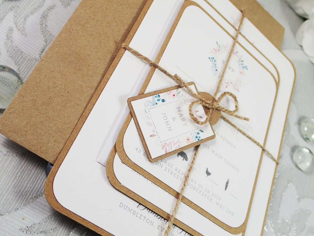 Metis - Classic Collection - priced from £1.50For those having a natural, BoHo-inspired wedding, our Metis collection is a wonderful accompaniment. Featuring rustic and vintage touches including natural twine and Kraft cardstock, Metis is an on-trend invitation and stationery design.
