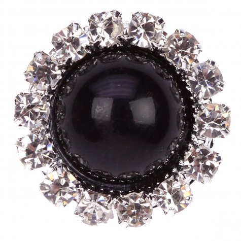 Diamante Circle Pearl Black