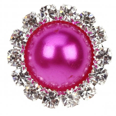 Diamante Circle Pearl Fuchsia
