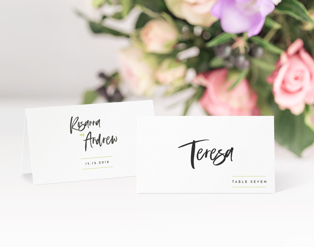 Soho Place Card in jet black and Conifer