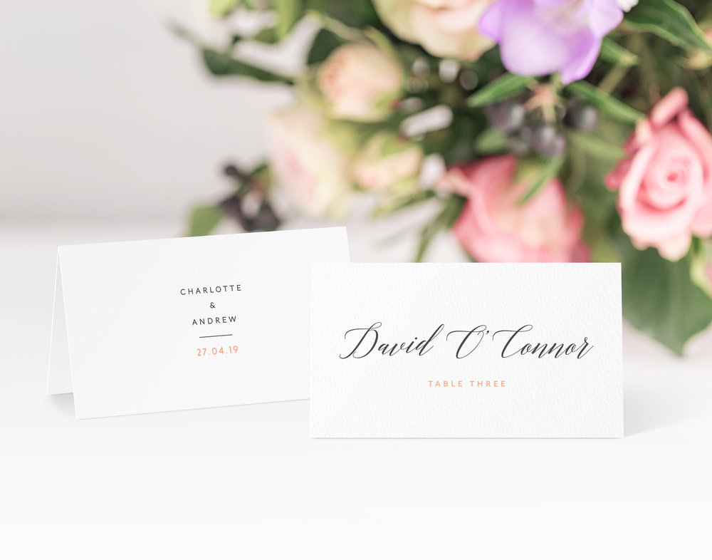 King's Road Place Card in Jet Black and Peach Dream