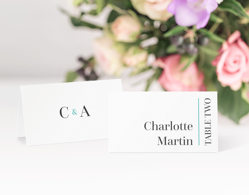 Hoxton Place Card in Jet Black and Pelorous