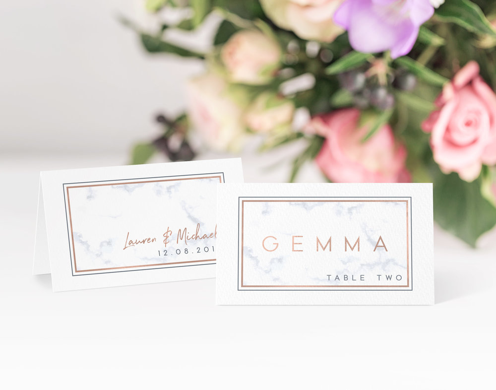 Chiswick Place Card in Fleet Grey