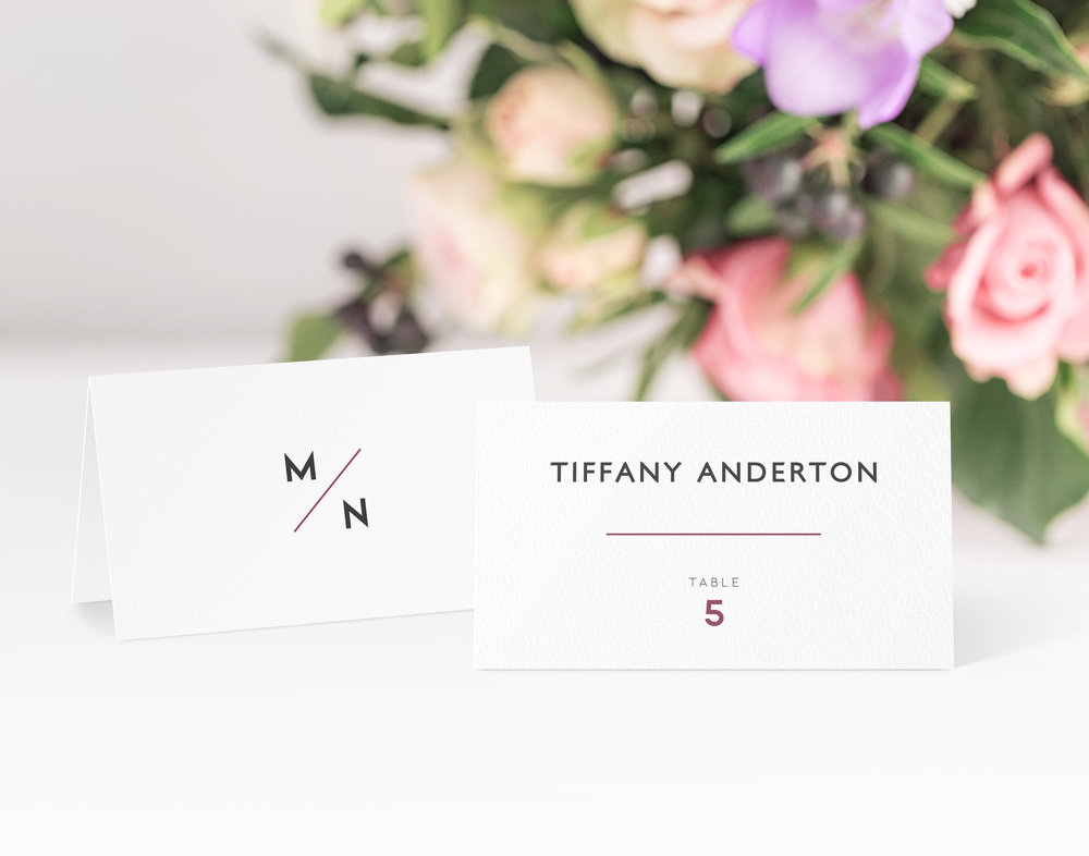 Camden Place Card in Jet Black and Dark Raspberry