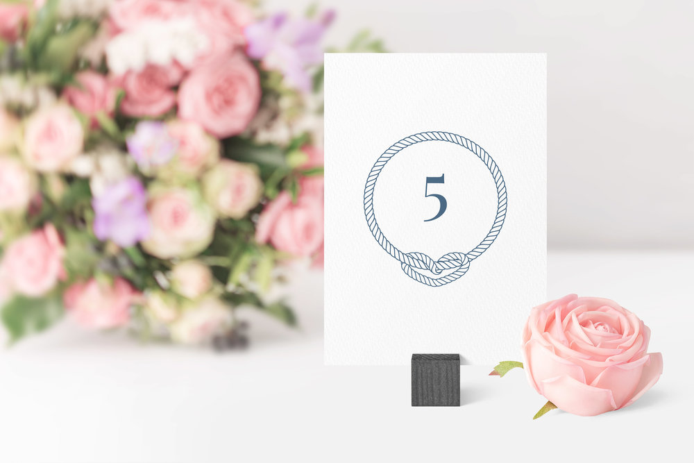 Canary Wharf Table Number in Starling Blue