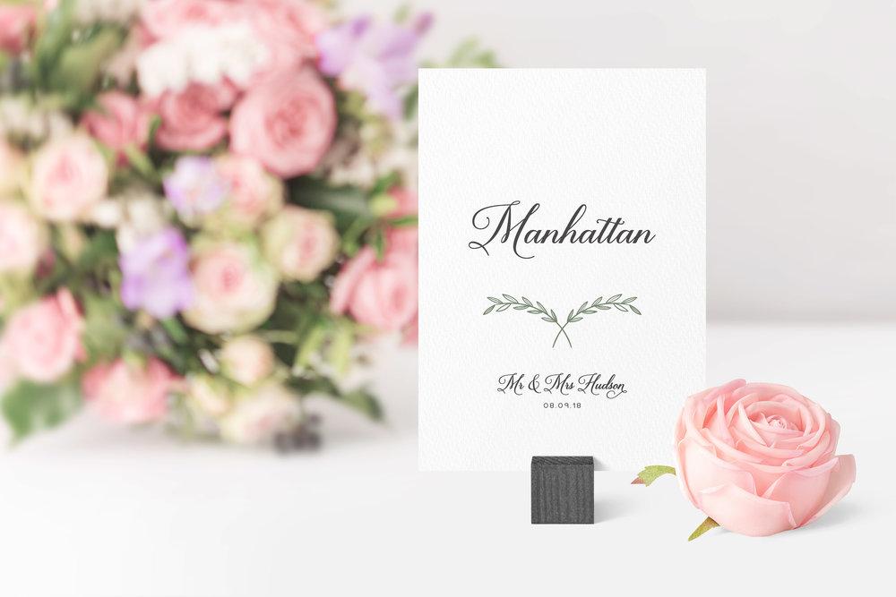 Paddington Table Name in jet black and Cactus