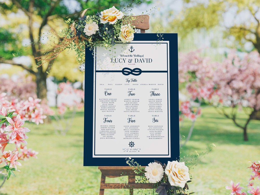 Canary Wharf Table Plan in Navy Blue