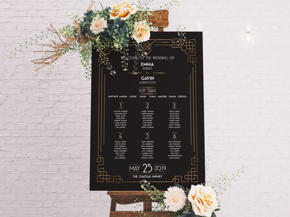 Earl's Court Table Plan in Jet Black and Pure White