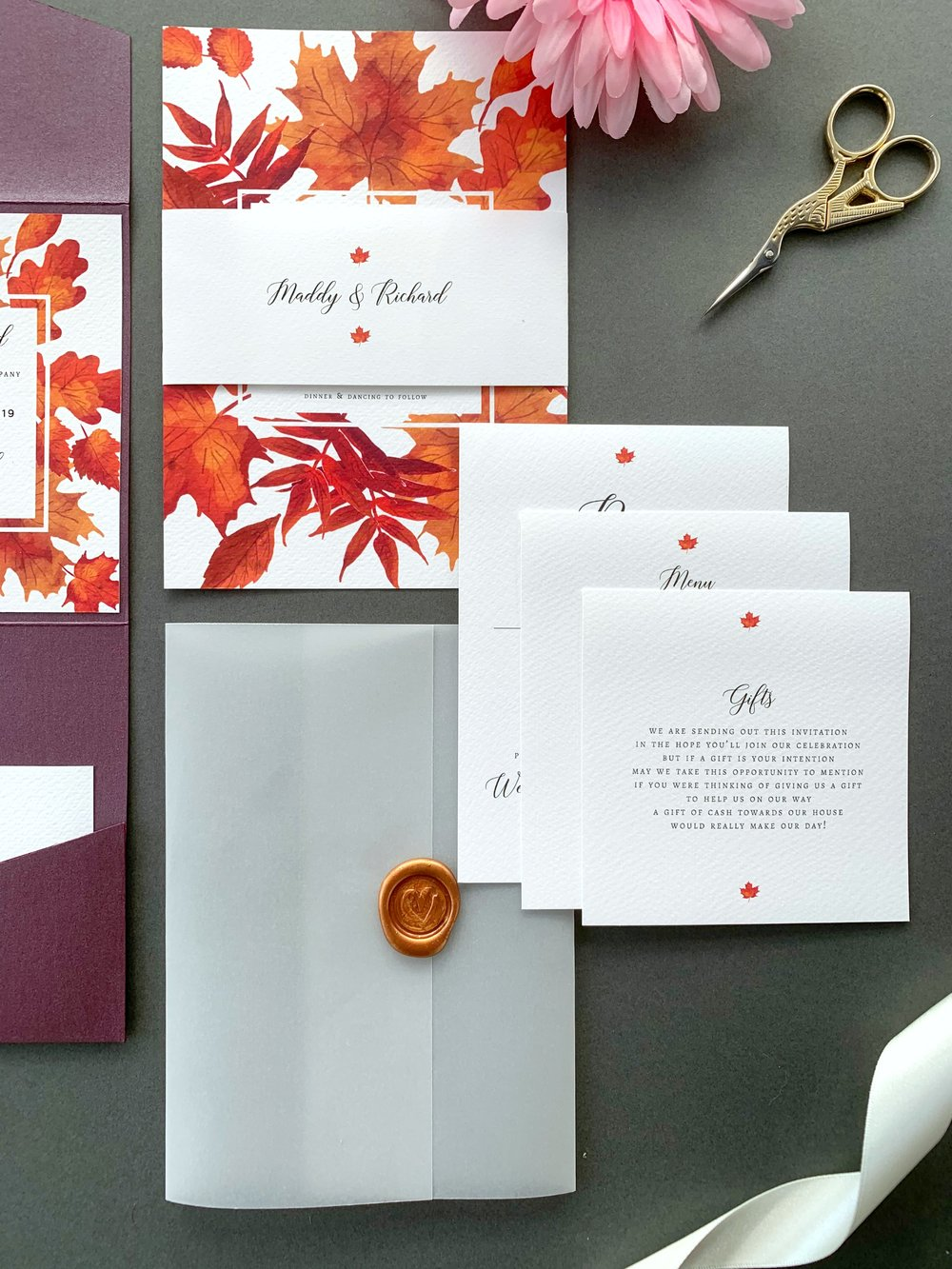 Burnt Oak Invitation Suite, printing in Jet Black, Wax Seal in Copper