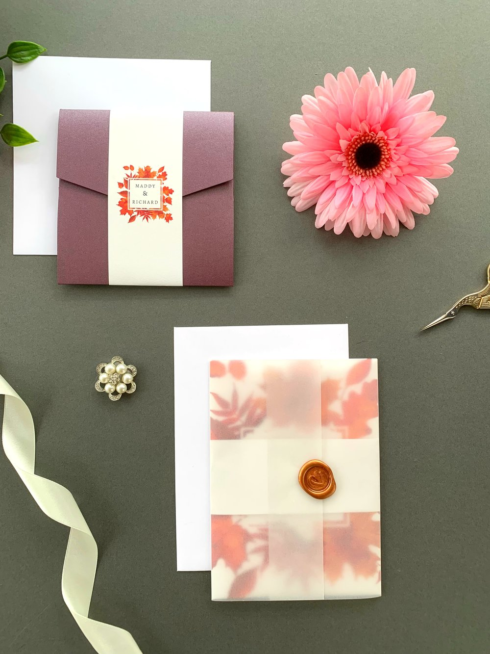 Burnt Oak Pocketfold with Paper Belly Band and Invitation Suite with Paper Belly Band, Vellum Jacket and Copper Wax Seal