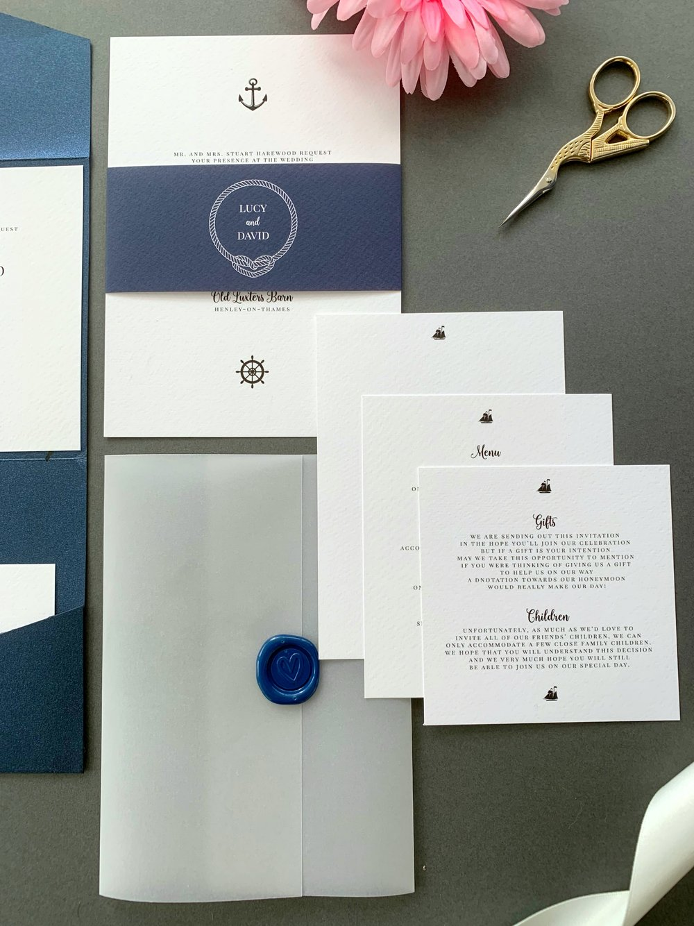Canary Wharf Invitation Suite in Jet Black and Navy Blue for printing, with Navy Blue Wax Seal on Vellum Jacket