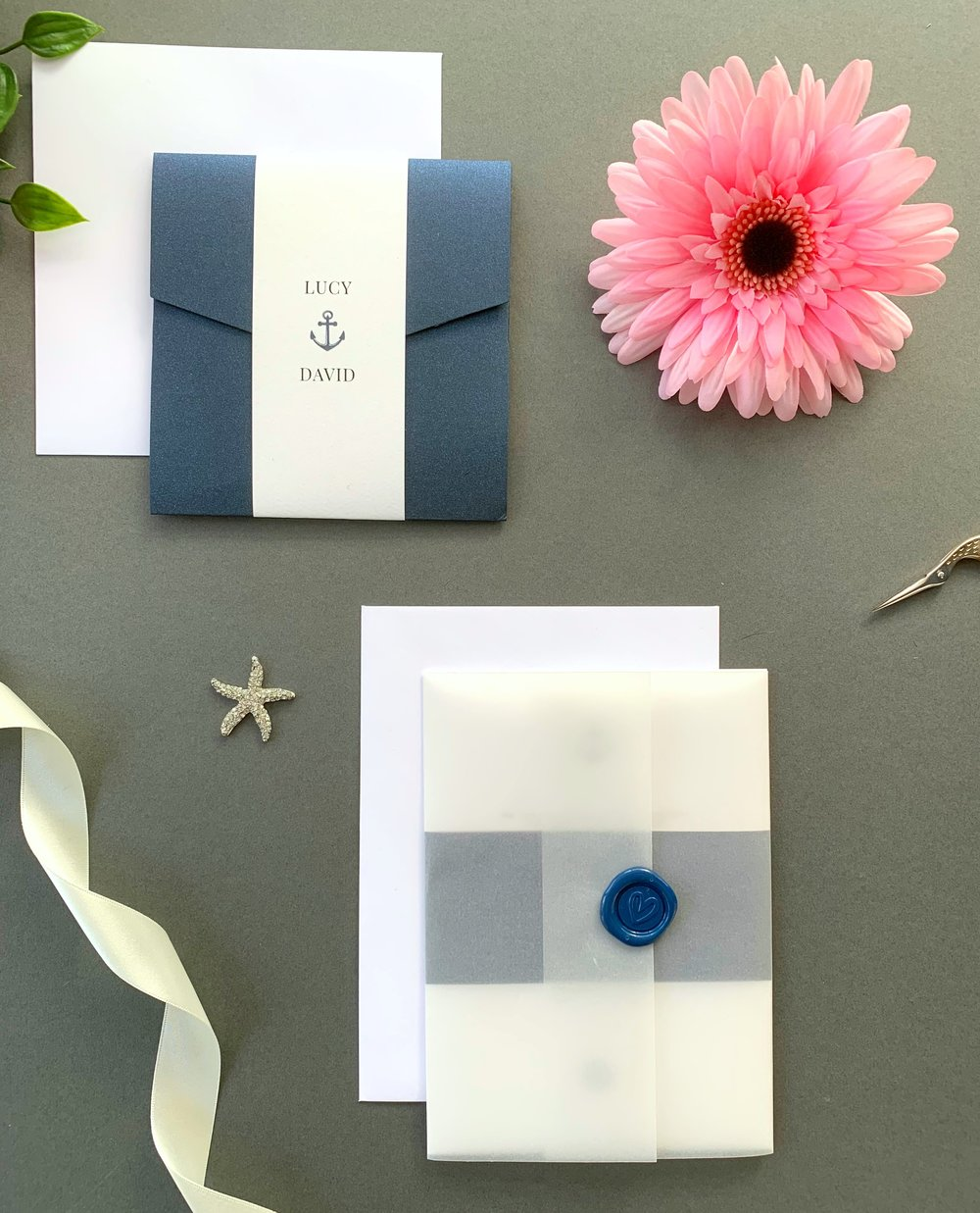 Canary Wharf Pocketfold Suite with Paper Belly Band, Invitation Suite with Paper Belly Band, Vellum Jacket and Navy Blue Wax Seal