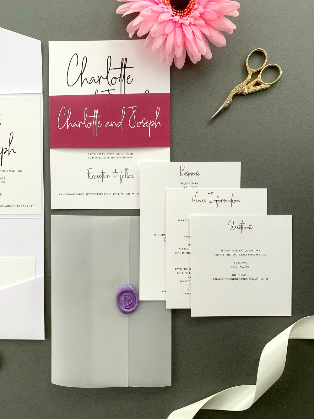 Chancery Lane Invitation Suite in Jet Black and Dark Raspberry for printing, with Pearl Violet Wax Seal on Vellum Jacket