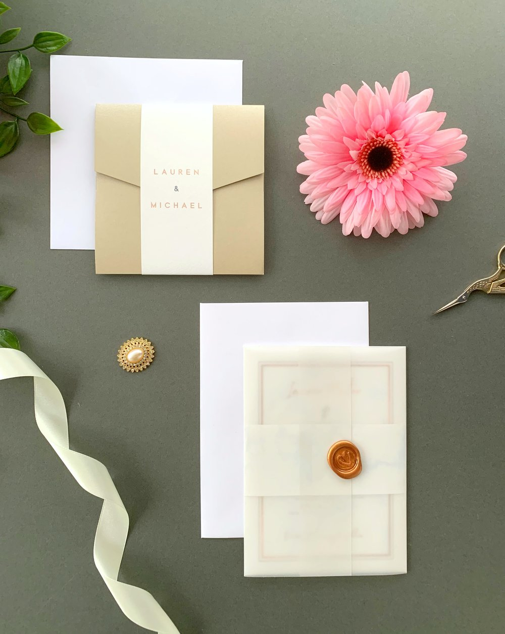 Chiswick Pocketfold Suite with Paper Belly Band, Invitation Suite with Paper Belly Band, Vellum Jacket and Copper Wax Seal