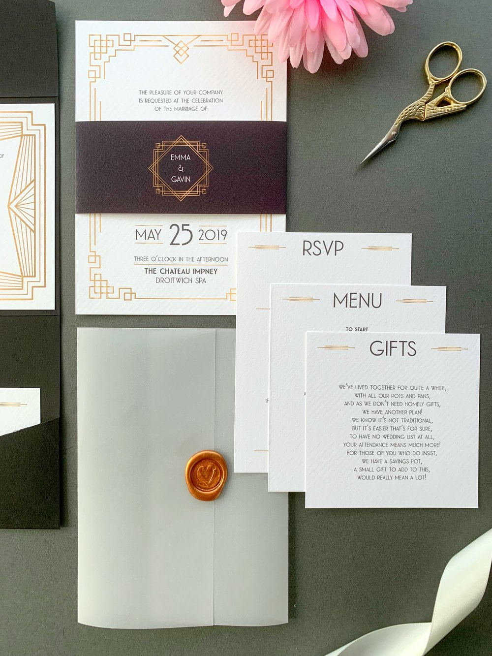 Earl's Court Invitation Suite in Jet Black and Pure White for printing, with Copper Wax Seal on Vellum Jacket