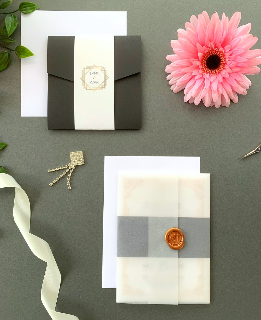 Earl's Court Pocketfold Suite with Paper Belly Band, Invitation Suite with Paper Belly Band, Vellum Jacket and Copper Wax Seal