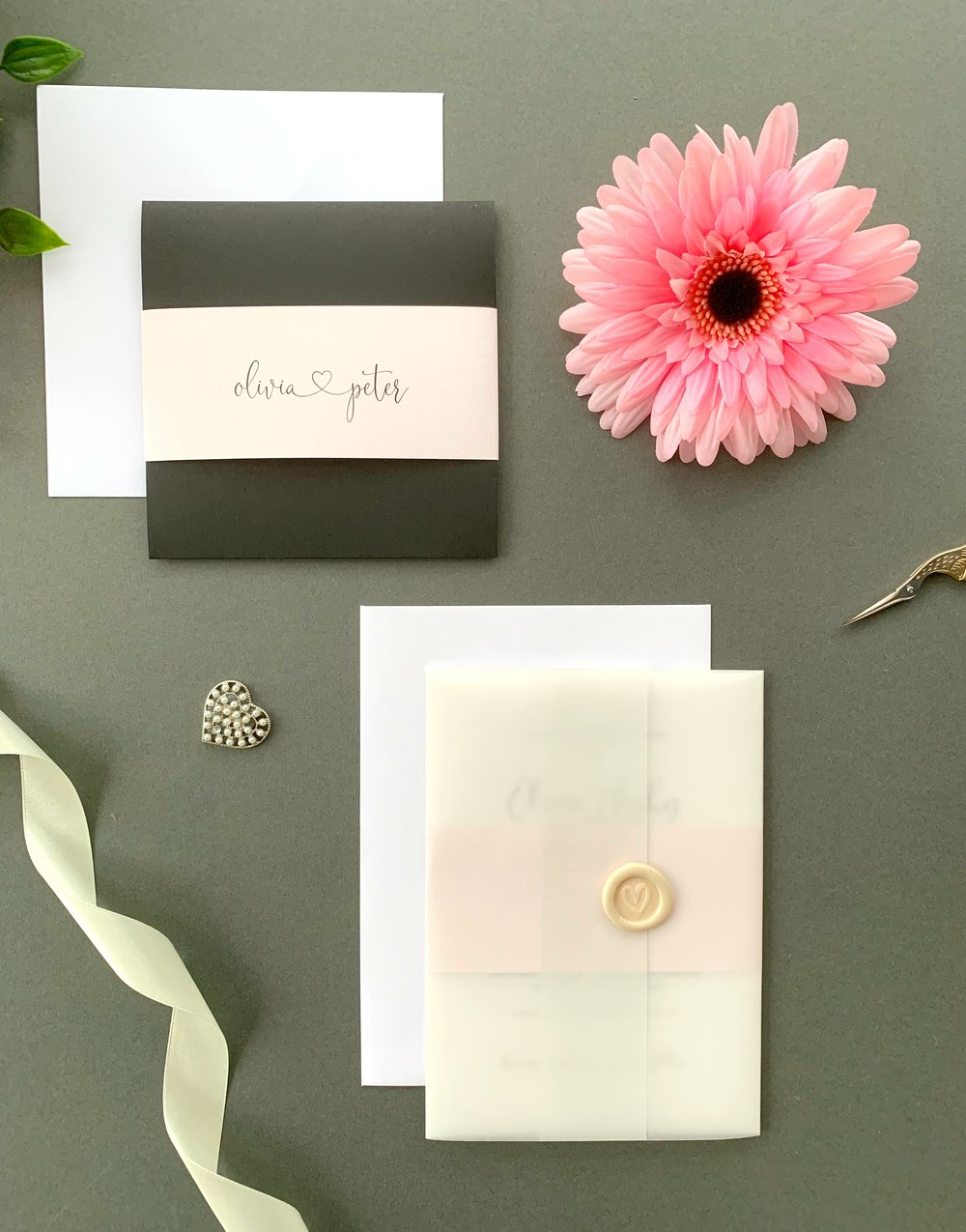 Finchley Pocketfold Suite with Paper Belly Band, Invitation Suite with Paper Belly Band, Vellum Jacket and Pearl Ivory Wax Seal