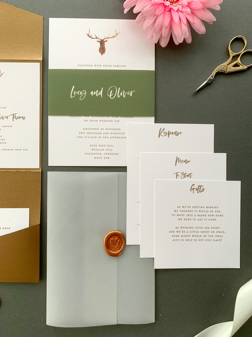 Highgate Invitation Suite in Ink Gild with Cactus and Buttercream Belly Band, with Copper Wax Seal on Vellum Jacket