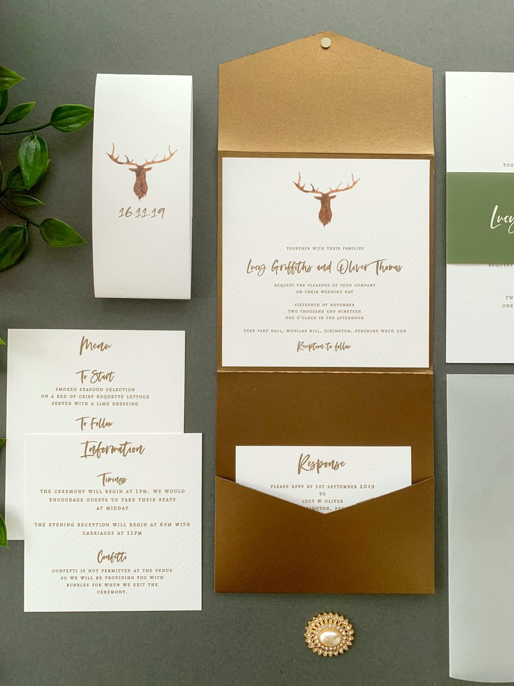 Highgate Pocketfold Suite using Classic Copper Pocketfold, with Ink Gild for printing and Paper Belly Band