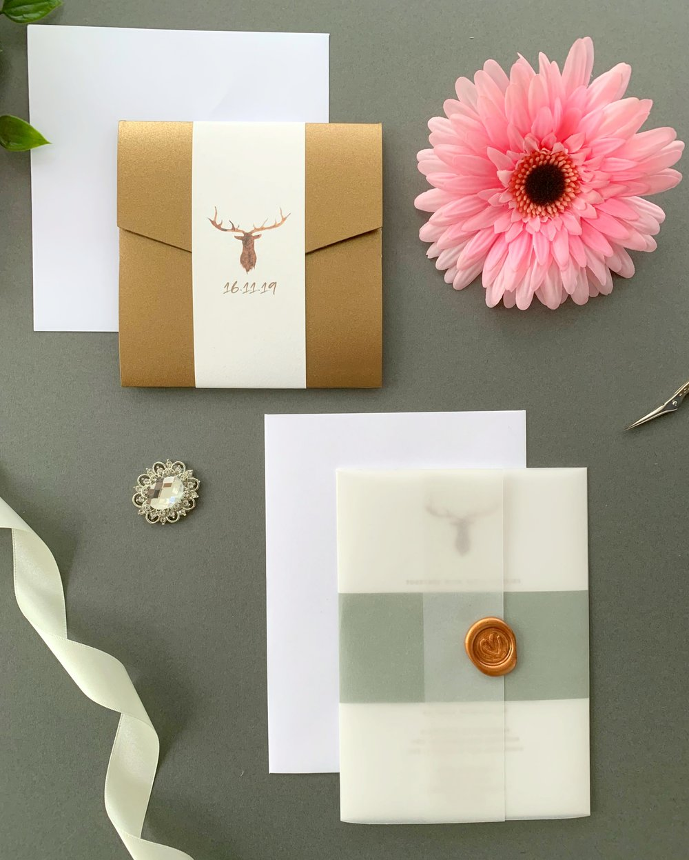 Highgate Pocketfold Suite with Paper Belly Band, Invitation Suite with Paper Belly Band, Vellum Jacket and Copper Wax Seal