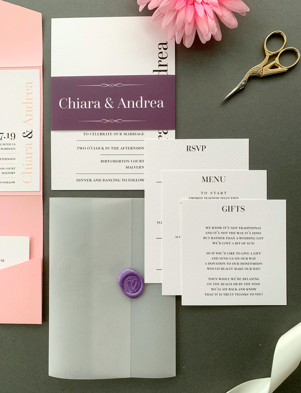 Hoxton Invitation Suite in Jet Black with Aubergine and Pure white Belly Band, with Pearl Violet Wax Seal on Vellum Jacket