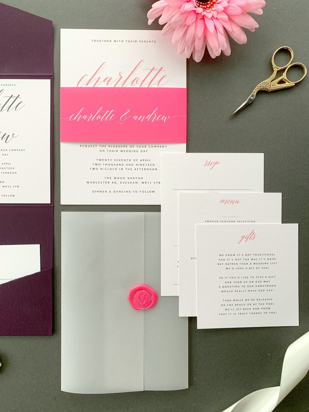 King's Road Invitation Suite in Jet Black and Thulian Pink and Paper Belly Band, with Sparkling Pink Wax Seal on Vellum Jacket