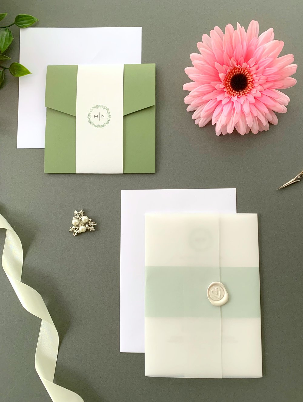 Mansion House Pocketfold Suite with Paper Belly Band, Invitation Suite with Paper Belly Band, Vellum Jacket and Pearl Ivory Wax Seal