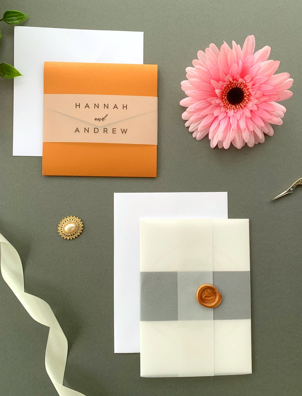 Mayfair Pocketfold Suite with Vellum Belly Band, Invitation Suite with Paper Belly Band, Vellum Jacket and Copper Wax Seal