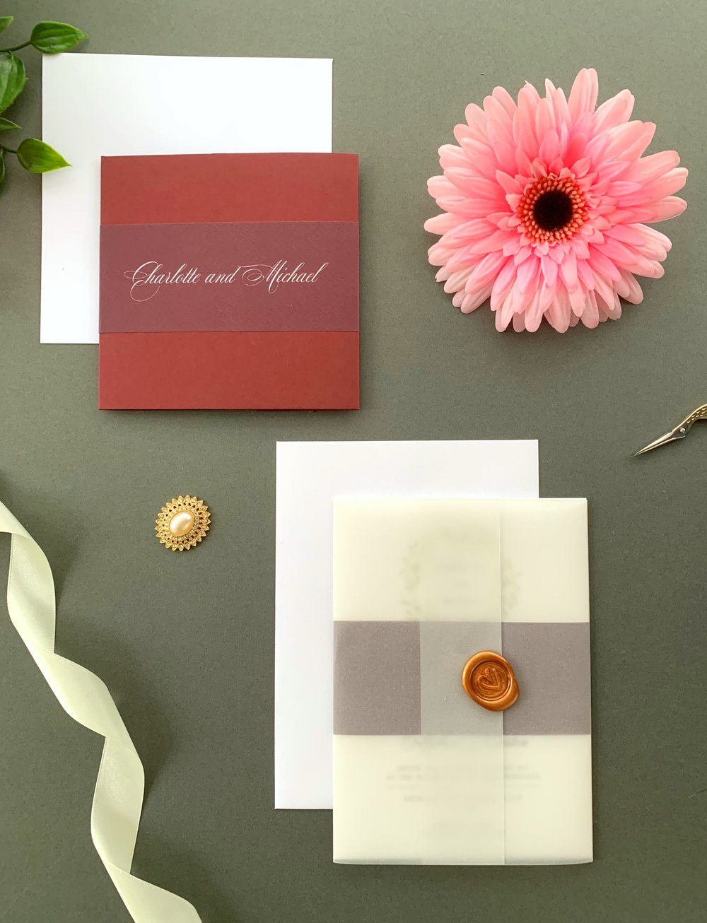 Oxford Pocketfold Suite with Paper Belly Band, Invitation Suite with Paper Belly Band, Vellum Jacket and Copper Wax Seal