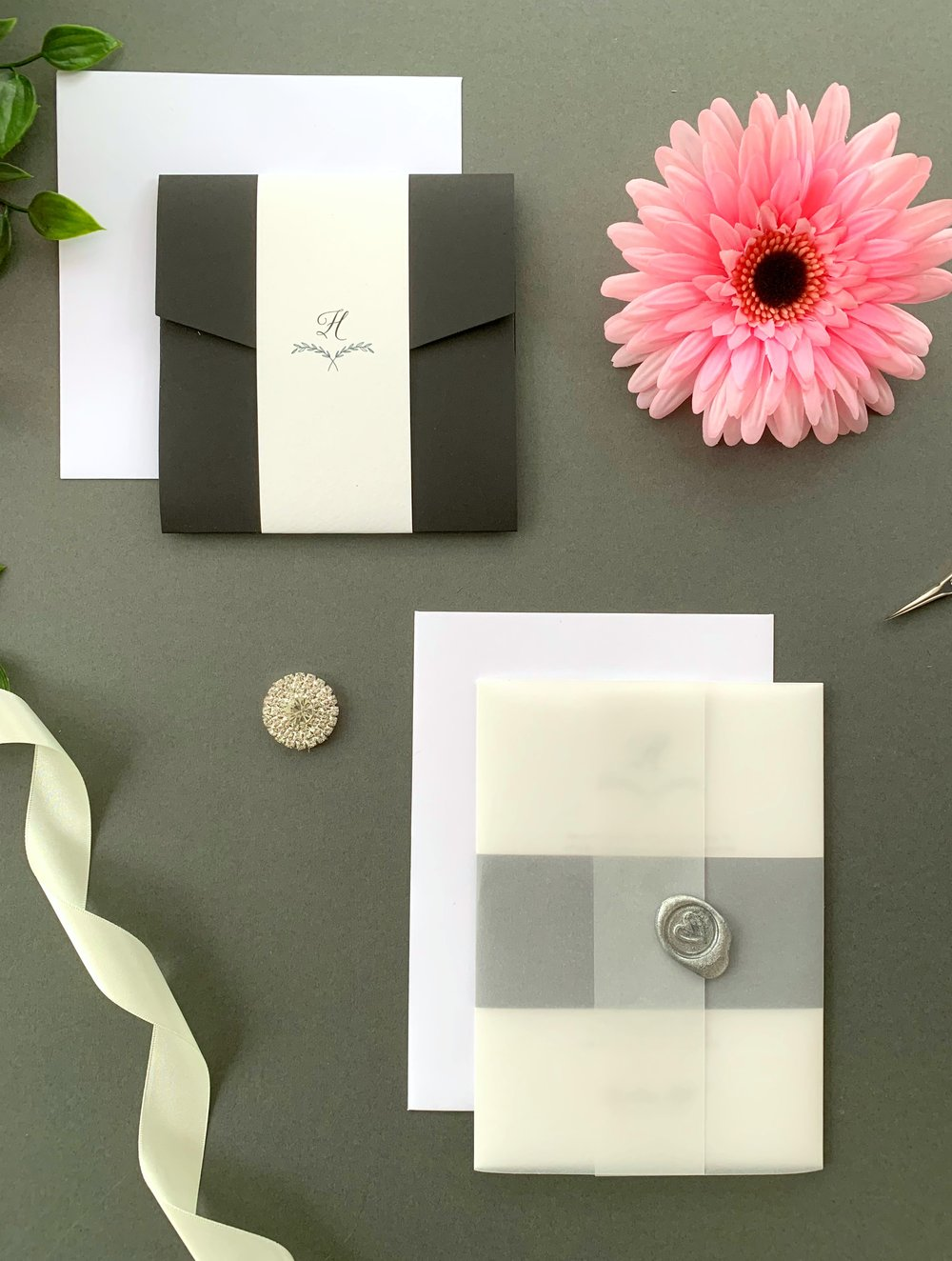 Paddington Pocketfold Suite with Paper Belly Band, Invitation Suite with Paper Belly Band, Vellum Jacket and Metallic Silver Wax Seal