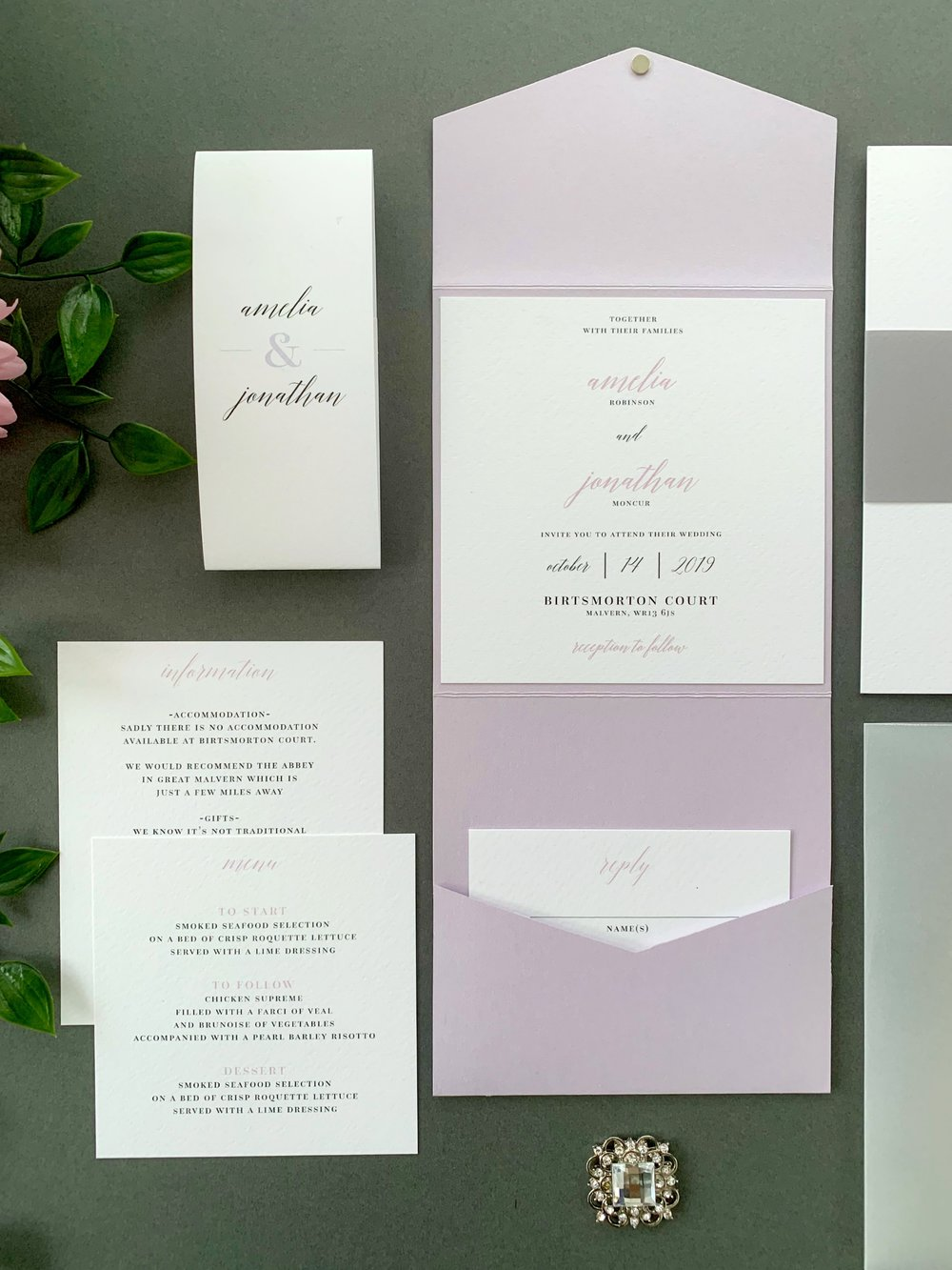 Westminster Pocketfold Suite using Lilac Pearl Pocketfold, with Jet Black & Lilac Printing and Paper Belly Band