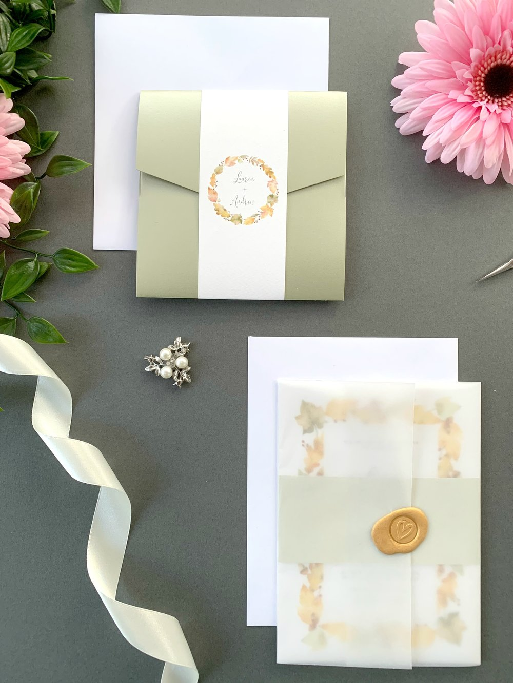 Richmond Pocketfold Suite with Paper Belly Band, Invitation Suite with Paper Belly Band, Vellum Jacket and Copper Wax Seal