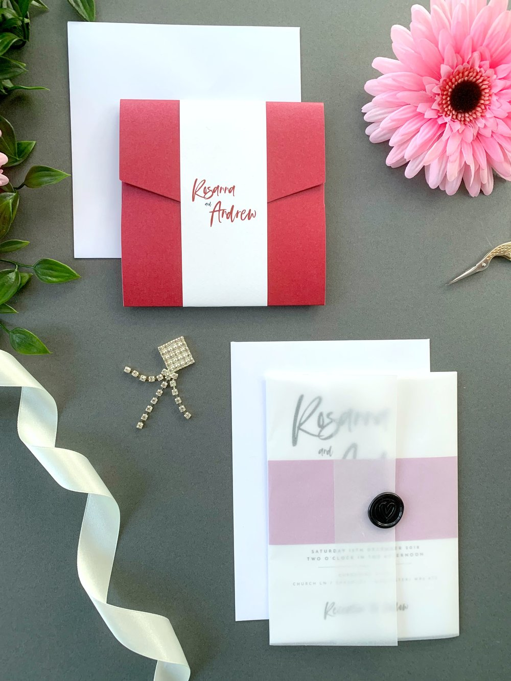 Soho Pocketfold Suite with Paper Belly Band, Invitation Suite with Paper Belly Band, Vellum Jacket and Black Wax Seal